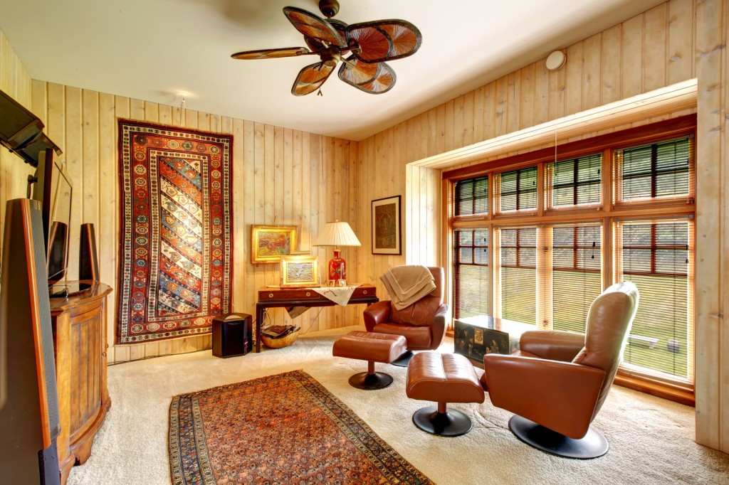 Furnished wood plank paneled room with rugs